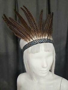 Feather Head Dress. Pheasant Feathers. Carnival Mardi Gras.