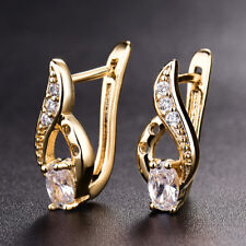 Retro Flame 18K Yellow Gold Filled Hollow Women Lady Party Wedding Hoop Earrings