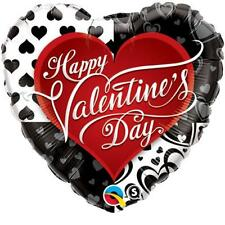 "Happy Valentines Day Black Hearts 36"" Qualatex Foil Balloon"