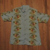 Tommy Bahama Hawaiian Shirt Mens Large Blue Floral Birds of Paradise Silk Aloha