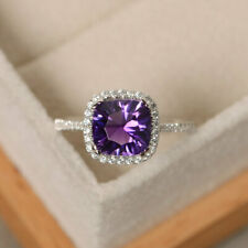 2.70 Ct Genuine Diamond Engagement Ring 14K Solid White Gold Amethyst Rings Size