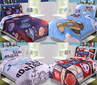 NEW KIDS TWIN 5PC MICROFIBER REVERSIBLE PRINTED COMFORTER BEDDING AND SHEET SET