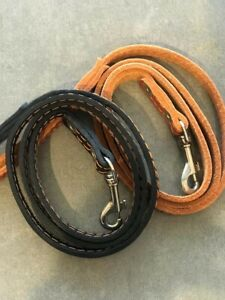 GENUINE LEATHER DOG LEAD LEASH 4 feet X 1/2 inch WITH CONTRAST STITCHING