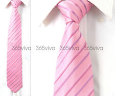 Pink Purple Stripe Men Neckwear Necktie 100% Woven Silk 8 cm Wedding Tie