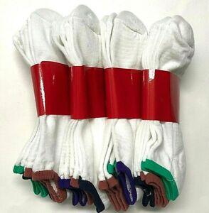 6 /12 Pair White w/ Multiple Colors Top Light Cushion Low Cut Sock SZ 9-11.