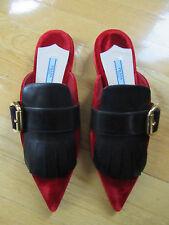 New Prada Women Open Back Loafers In Red Velvet Black Leather w/Fringe Size 9 US