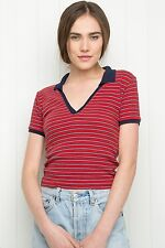 Last one! brandy melville Red/white/navy striped collared knit babe top NWT S/M