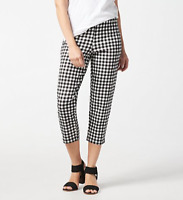 Joan Rivers Regular Gingham Print Signature Pull-On Crop Pants - Black/White - L