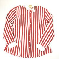 R M Williams Womens Semi Fitted Long Sleeve Red & White Striped Shirt Size 18