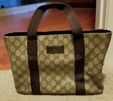 Vintag GUCCI Brown GG Logo Canvas Leather Tote Bag EUC! BEAUTIFUL!