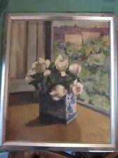 PEINTURE sur TOILE Juliette BONNET 1950 nature morte BOUQUET