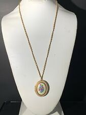 Vintage Avon Gold Tone Chain Necklace With Faux Pearl Floral Locket