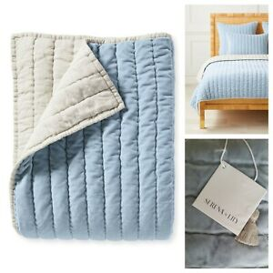 Serena and Lily Delwood Velvet Quilt Twin Coastal Blue NWT Retails $328