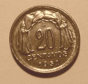 Coin - 1951 20 Centavos - Chile - Copper - Brilliant