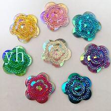 Hot 18PCS 25mm mix Resin flower Flatback  Rhinestone Embellishment 2 hole crafts