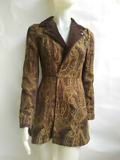Free People Brocade Fitted Coat Velvet Collar & Lapels Excellent sz 4