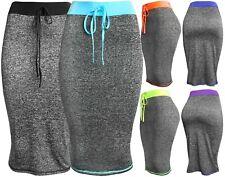 Womens Active Heather Pencil Midi Bodycon Skirt