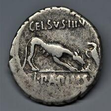RARE SILVER DENARIUS OF L. PAPIUS CELSUS: JUNO / WOLF. ROME, 45 BC. RIC: 472/1.