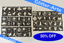 X 60 STENCILS For Glitter Tattoos Boys Kids Body Art VALUE Pack Top Up Kit TB3