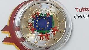 2 euro 2015 AUSTRIA color farbe couleur Autriche Österreich Австрия bandier flag