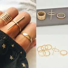 7Pcs Gold Boho Women Stack Plain Above Knuckle Ring Midi Finger Tip Rings Set