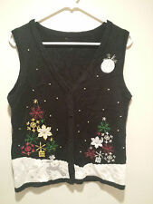 Vintage Ugly Christmas Sweater Tacky - Medium M Black Snowflake Holiday Trees!