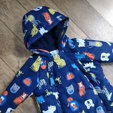 M&S Marks & Spencers Navy Animal Print Soft Hooded Snowsuit 12-18 Months