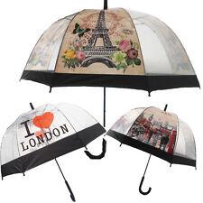 Dome Umbrella Brolly CLEAR Birdcage Rain Bubble Transparent Unisex I LOVE London