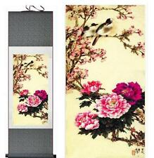"Chinese flower and bird painting peony flowers painting12""x40"""