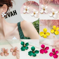 Boho Painting Petals Women Fashion Stud Earrings Big Flower Charm Jewelry Summer