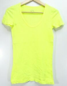 New J.Crew Womens Vintage Cotton Scoop Neck Short Sleeve Neon Yellow T-Shirt XXS