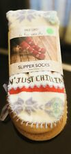 MUK LUKS Women's Slipper Socks With Tassels L/XL  Shoe Size 8-10