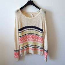 AEROPOSTALE Womens Knit Jumper Sweater Top Size Medium Cream with Stripes
