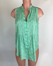 Maeve Anthropologie Womens Top Blouse Green White Print Sleeveless Size S