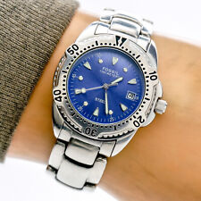 Fossil Steel Womans Watch FS2523 Blue Date Dial Stainless Steel 100m Working