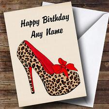 Leopard Print Stiletto Personalised Birthday Greetings Card