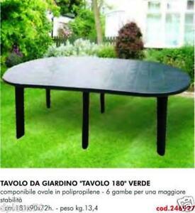 TAVOLO IN PLASTICA DA GIARDINO Cm 181 X 90 H= 72  COLORE VERDE 6 GAMBE  246927