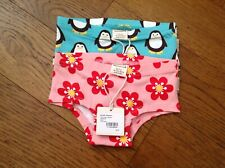 Maxomorra Girls Hipster Briefs x 2- Penquin  and Anemone -size 86/92cms