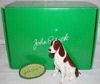 John Beswick British Brown White Springer Spaniel China Dog + Plaque & Box  D11