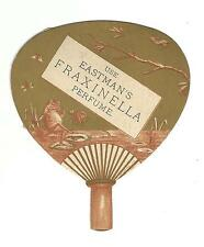 Old DIE CUT Trade Card Eastman's Fraxinella Perfume FAN Frog Smoking Pipe
