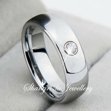 WOMENS TUNGSTEN CARBIDE SILVER WEDDING RING Made with SWAROVSKI CRYSTAL JS018