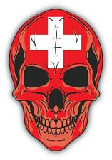 "Skull Flag Switzerland Car Bumper Sticker 4"" x 5"""