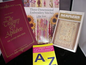 4 New Old Stock  books on cross stitch and embroidery