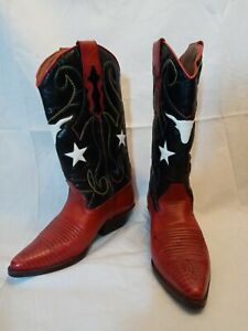 Women's 6 1/2 M Nine West western boots steers stars patriotic red white blue