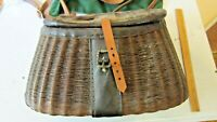 "Antique Fishing Creel 14"" Split Willow Creel with Saddle Leather Trim. C.1922"
