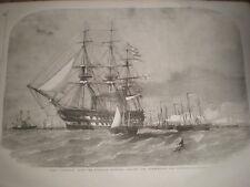 HMS Colossus with gun boat flotilla Motherbank 1856 print ref AT