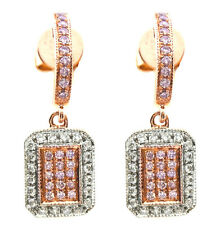 0.47ct Fancy Pink Diamonds Earrings 18K All Natural 4.50 Grams Radiant Gold