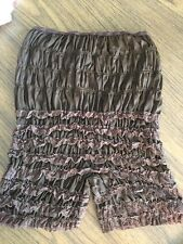 BROWN silk lace pettipants bloomers Sissy Steampunk Rumba Panty L