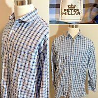 PETER MILLAR Blue Check 100% Cotton Men's Shirt Longsleeve Button Down Size XL