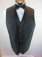 Mens Formal Vest Black Diamond Design Matching Tie Included Gold Buttons Med B1